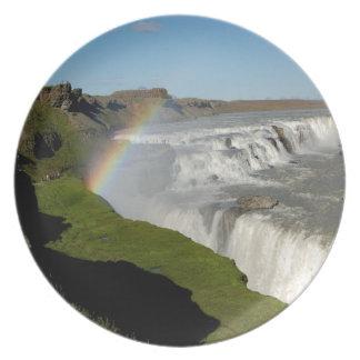 Gullfoss waterfall in summer plate