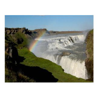 Gullfoss waterfall in summer postcard