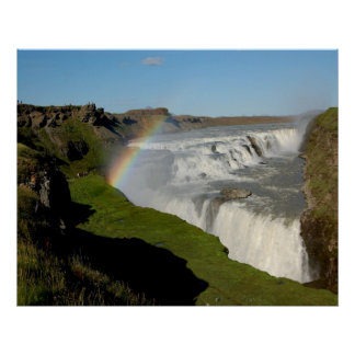 Gullfoss waterfall in summer poster