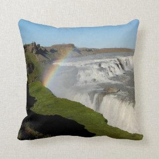 Gullfoss waterfall in summer throw pillow