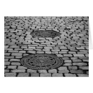 Gullideckel Manhole Paving Stones Cobbled Road Card