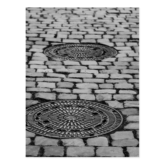 Gullideckel Manhole Paving Stones Cobbled Road Postcard
