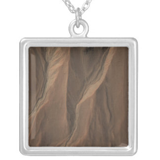 Gullies at the Edge of Hale Crater, Mars Silver Plated Necklace
