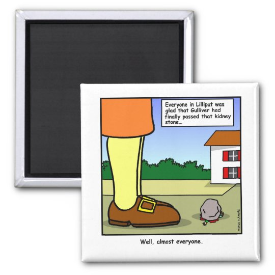 Gulliver and the Kidney Stone Cartoon Square Magnet
