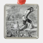 Gulliver stealing the Blefuscudian fleet Silver-Colored Square Decoration