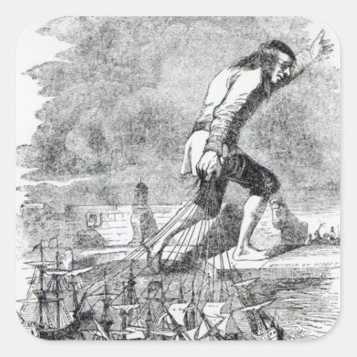 Gulliver stealing the Blefuscudian fleet Square Sticker