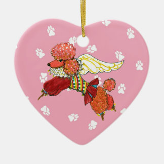 Gulliver's Angels Apricot Poodle Ceramic Heart Christmas Ornament