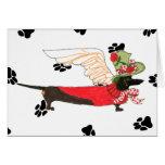 "Gulliver's Angels Black Dachshund ""Bone Mot"" Greeting Card"