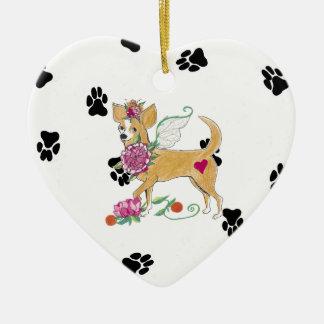 Gulliver's Angels Chihuahua Ceramic Heart Ornament