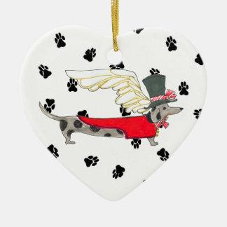 Gulliver's Angels Dapple Dachshund Ceramic Heart Christmas Ornament
