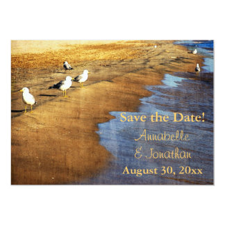 gulls at sunset at water's edge save the date 13 cm x 18 cm invitation card
