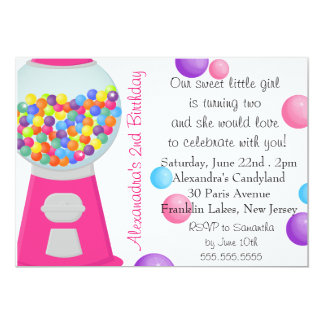 Gum Ball Machine Candy Party Girl Birthday 13 Cm X 18 Cm Invitation Card