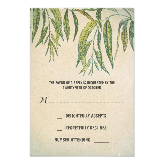 gum leaves rustic outdoor wedding RSVP cards