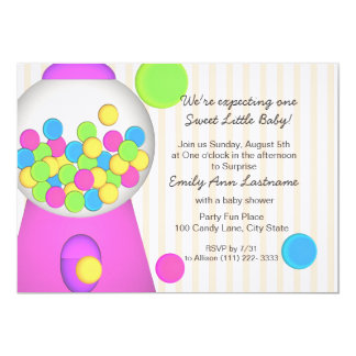 Gumball Baby Shower 13 Cm X 18 Cm Invitation Card