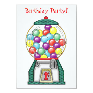 Gumball Goodies Birthday Party 13 Cm X 18 Cm Invitation Card