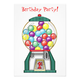 Gumball Goodies Birthday Party Announcements