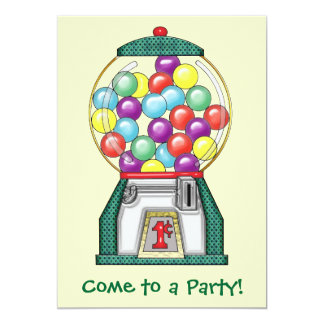 Gumball Goodies Party 13 Cm X 18 Cm Invitation Card