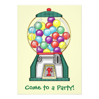 Gumball Goodies Party Personalized Invitation