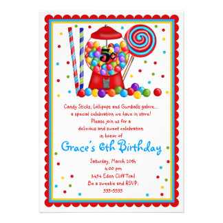 Gumball Machine and Candy Invitation