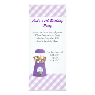 Gumball Machine and Hearts 10 Cm X 24 Cm Invitation Card