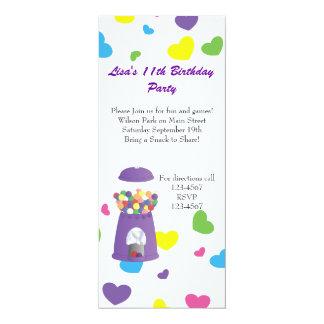"Gumball Machine and Hearts 4"" X 9.25"" Invitation Card"