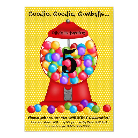 Gumball Machine Birthday Invitation