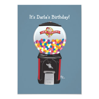 Gumball Machine Birthday Party Invitation