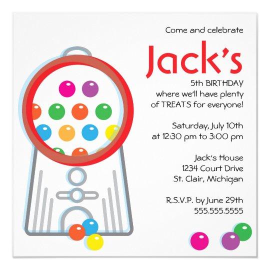 Gumball Machine Birthday Party Invitation