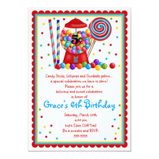 Gumball Machine Candy Lollipop sweet Invitation