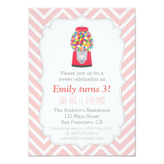 Gumball Machine Candy Themed Birthday Party 11 Cm X 16 Cm Invitation Card