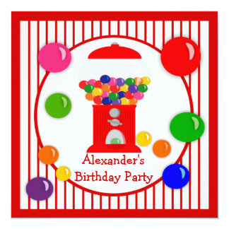Gumball Machine Children's Birthday Invitations