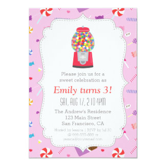 Gumball Machine Sweet Candy Birthday Party 11 Cm X 16 Cm Invitation Card