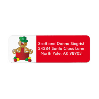 Gumdrop Gingerbread Man | Christmas Return Address Label