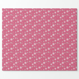 Gumdrop Pink and White Snow Flurries Wrapping Paper