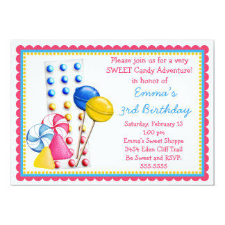 Gumdrops and Candy Buttons Invitation- Hot Colors Card