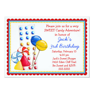 Gumdrops and Candy Buttons Invitation- Primary Card