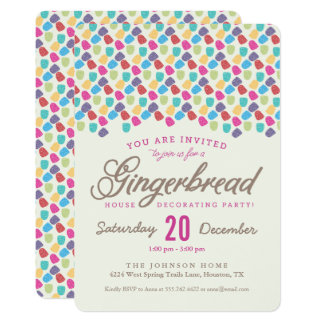 Gumdrops & Gingerbread House Decorating Party 13 Cm X 18 Cm Invitation Card