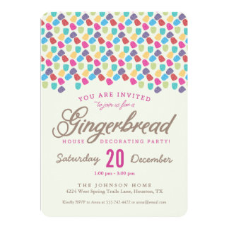 """Gumdrops & Gingerbread House Decorating Party 5"""" X 7"""" Invitation Card"""