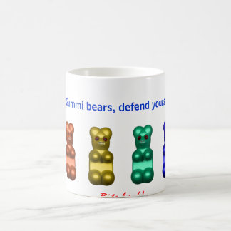 gummi bears, defend yourself coffee mug