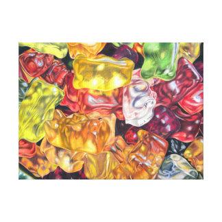 Gummibärchen - coloured pencil design canvas print