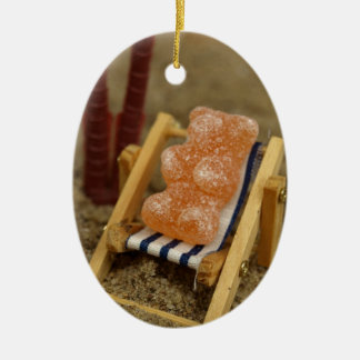 Gummy Bear Relaxing on Beach Christmas Ornament