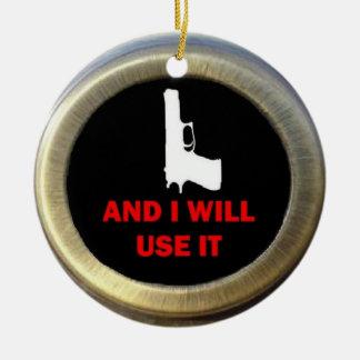 Gun Advocate Round Ceramic Decoration