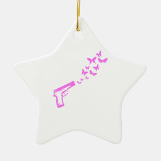 Gun Butterflies Pink Christmas Ornament