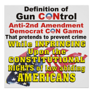 Gun CONtrol Anti-2nd Amendment Democrat CON Poster