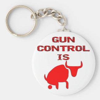 Gun Control Is Bull Key Chain