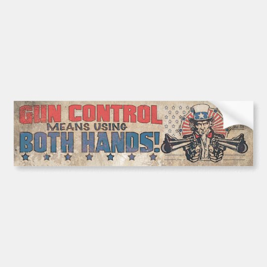 Gun Control Means Both Hands Bumper Sticker