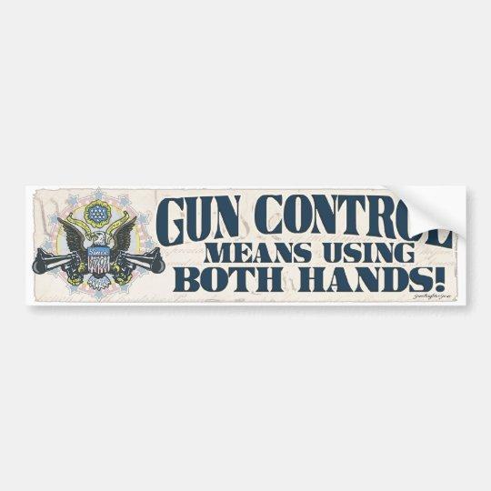 Gun Control: Using Both Hands Gun-Toting Eagle Bumper Sticker
