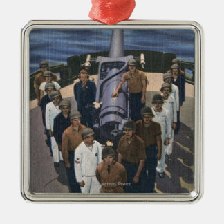 Gun Crew in Victory Formation - US Navy Silver-Colored Square Decoration