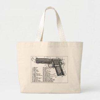 Gun Diagram Jumbo Tote Bag