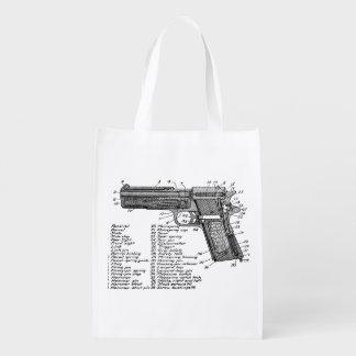Gun Diagram V2 Reusable Grocery Bag